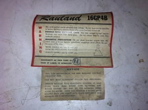 Rauland 16GP4 tube sticker